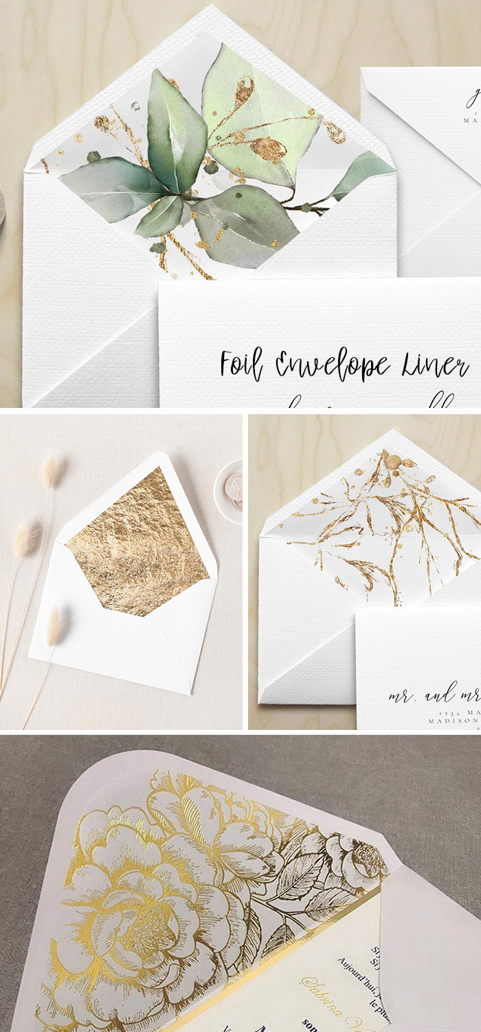 stylish foil wedding invitation liners
