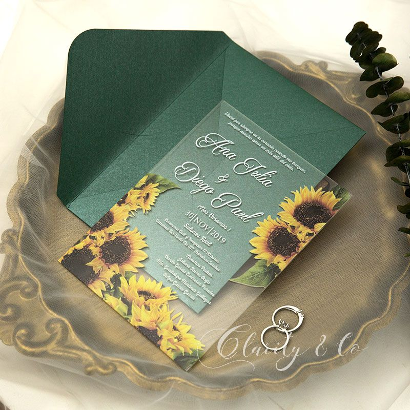 sunflower themed acrylic wedding invites with white wordings ca023