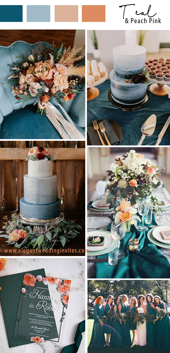 teal and peach pink micro wedding color theme
