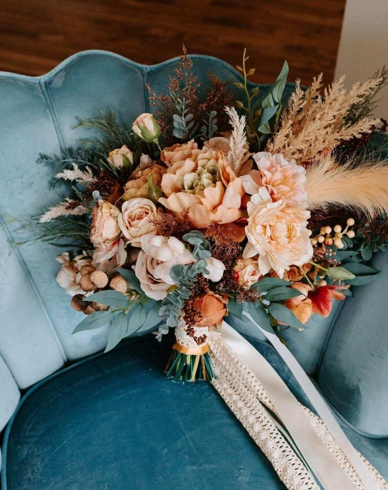teal peach and terracotta floral wedding flowers