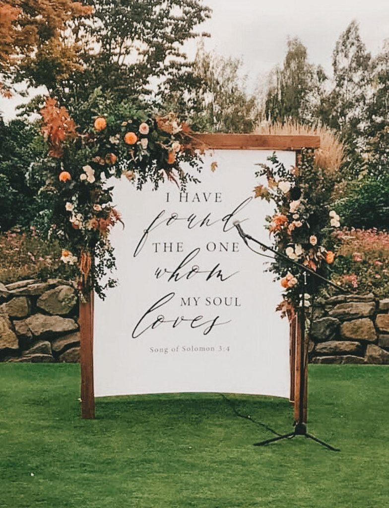 unique calligraphy wedding banner backdrop