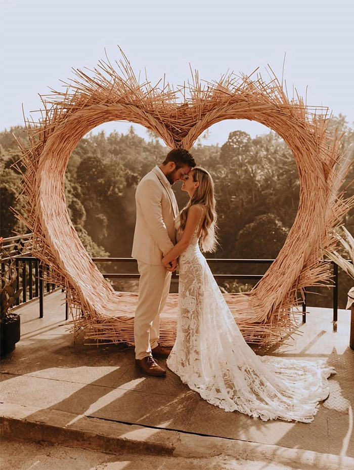 unique heart shape boho theme wedding arches