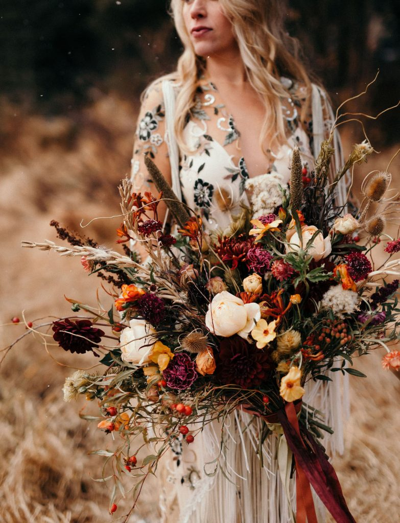 vibrant wild flowers boho fall wedding bouquets