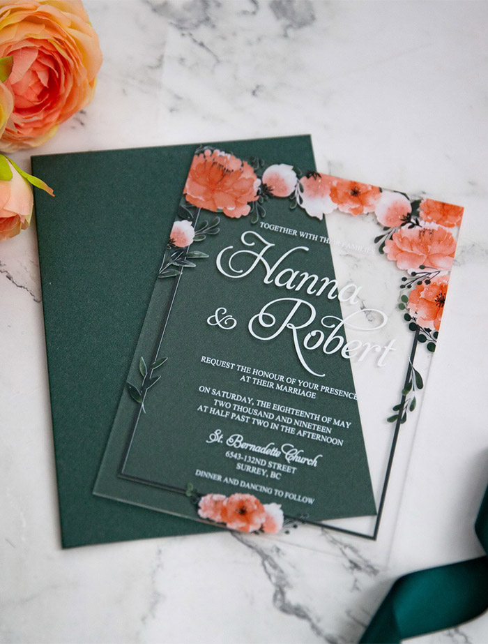 watercolor fall flower acrylic wedding invites