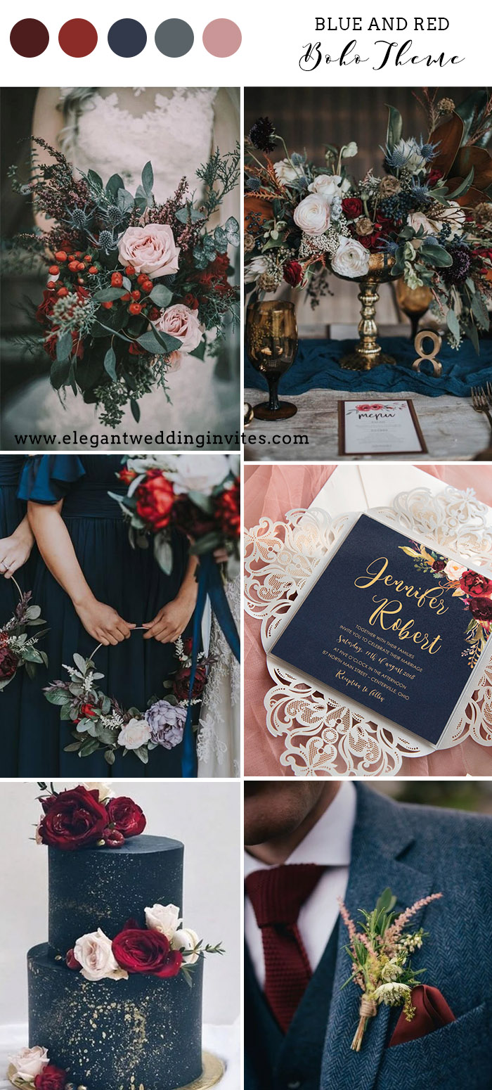 whimsical blue and red bohemian winter wedding color combos