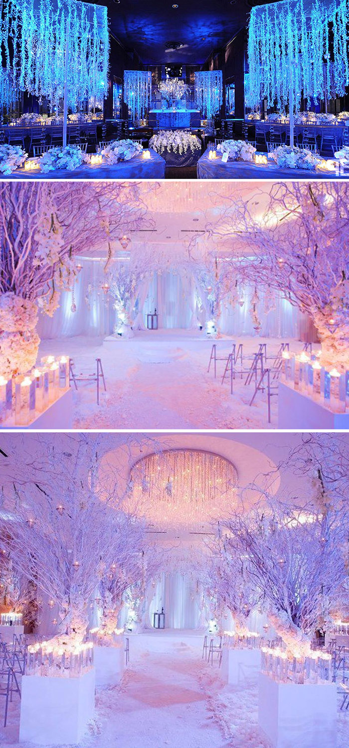 winter wonderland wedding decor with fairylights and branch trees
