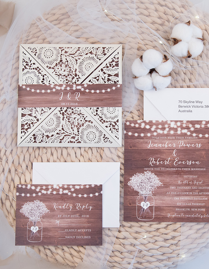wooden string lights rustic wedding invitations