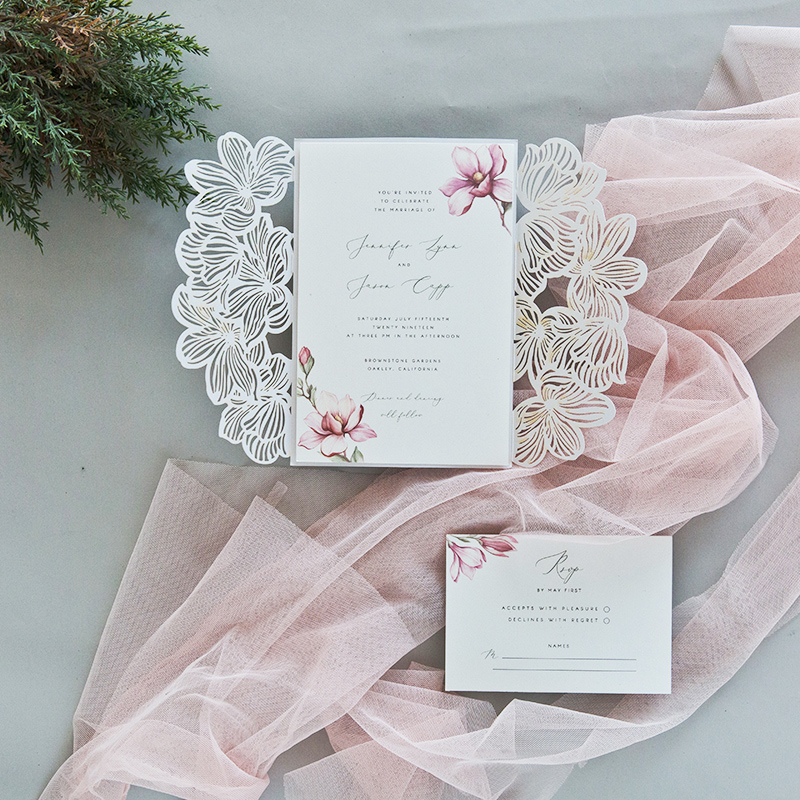 Ivory Laser Cut Wrap with Blush Blossoms on Invitation EWDS008 3