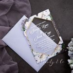 Lavender Floral 1mm affordable Acrylic Wedding Invitations CAX028