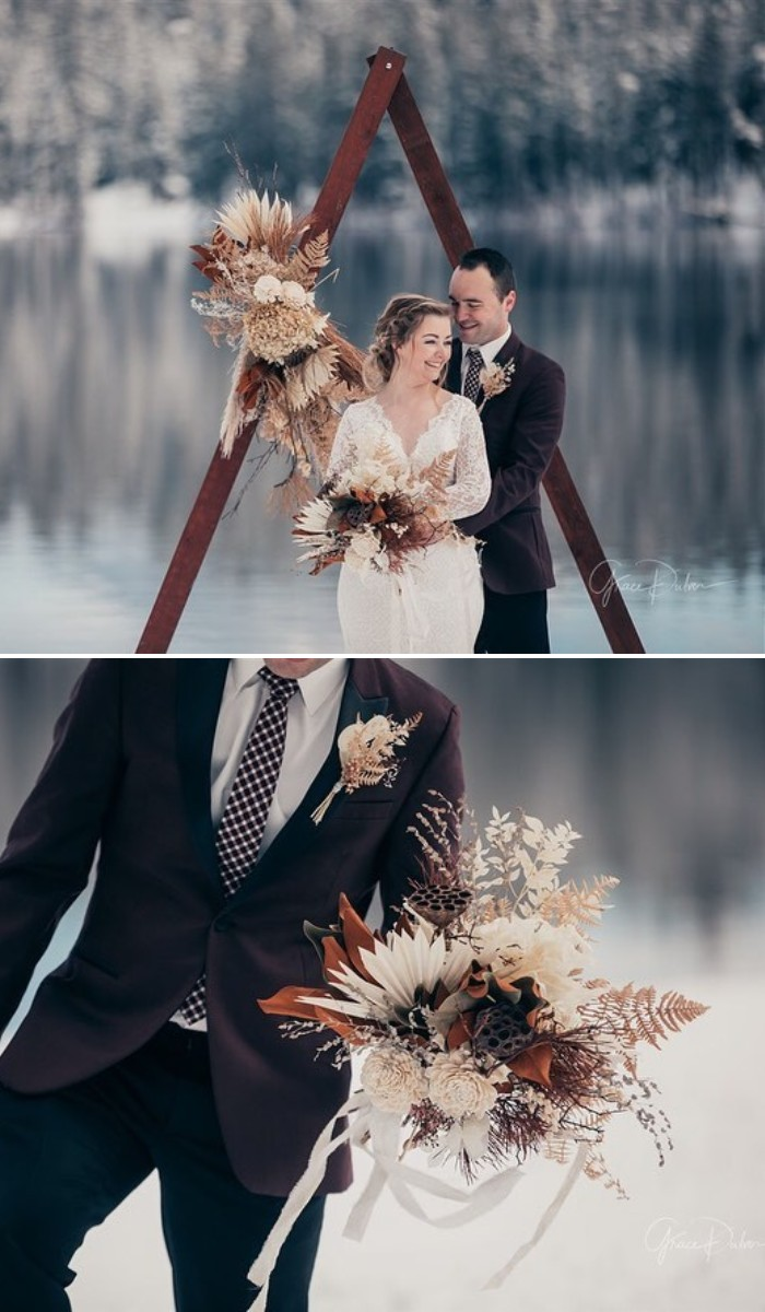 beautiful dried florals for these winter small wedding ideas