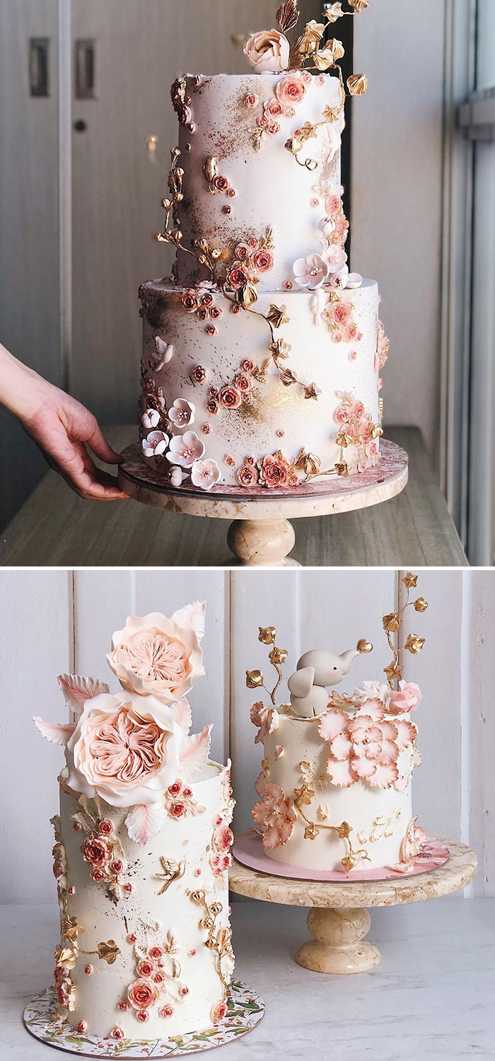beautiful hand painted floral wedding cakes with foil accents