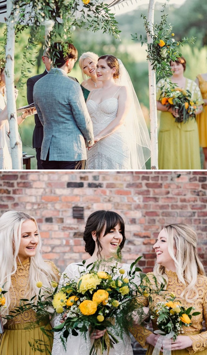 beautiful sunshine yellow tones for your micro wedding ideas