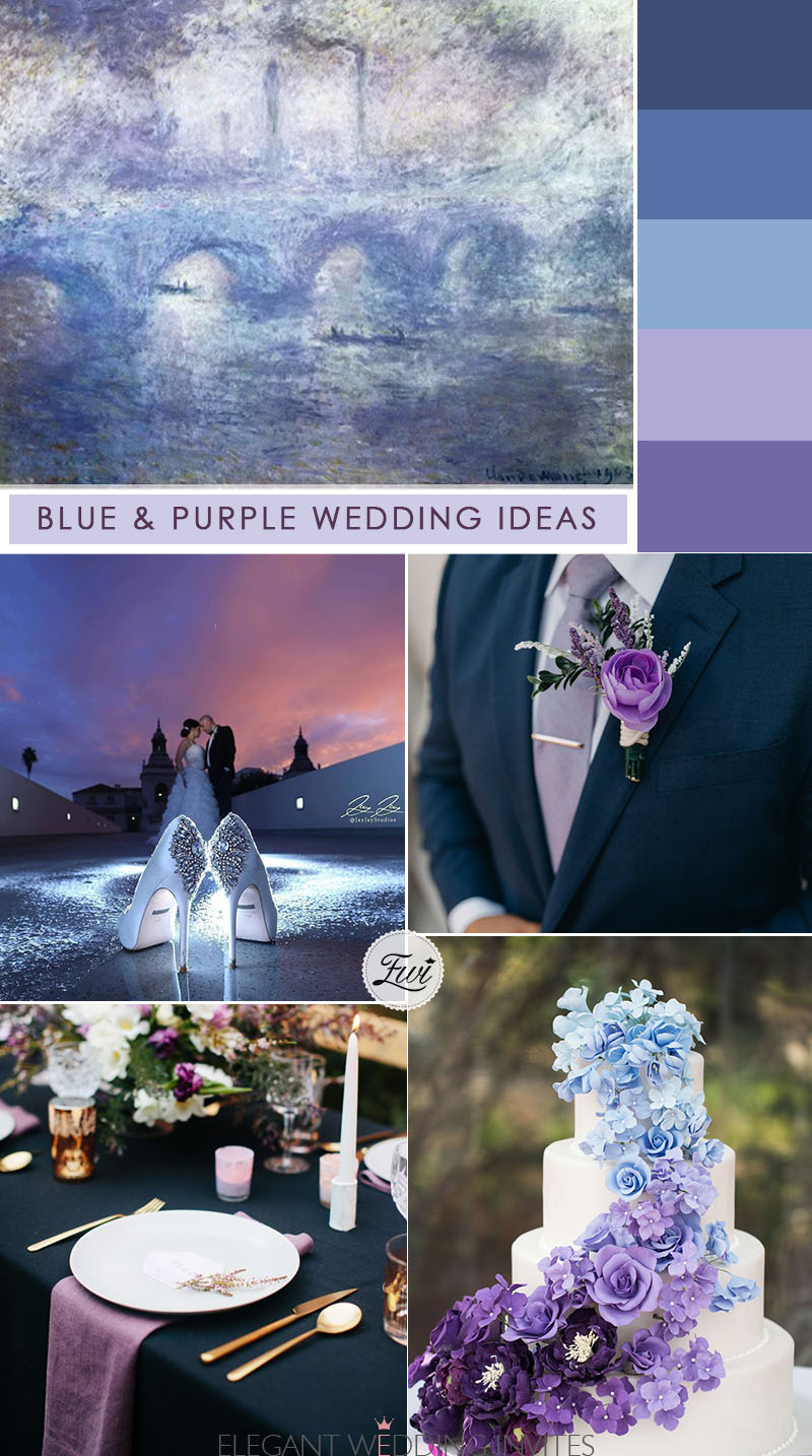 blue and purple wedding ideas from painting