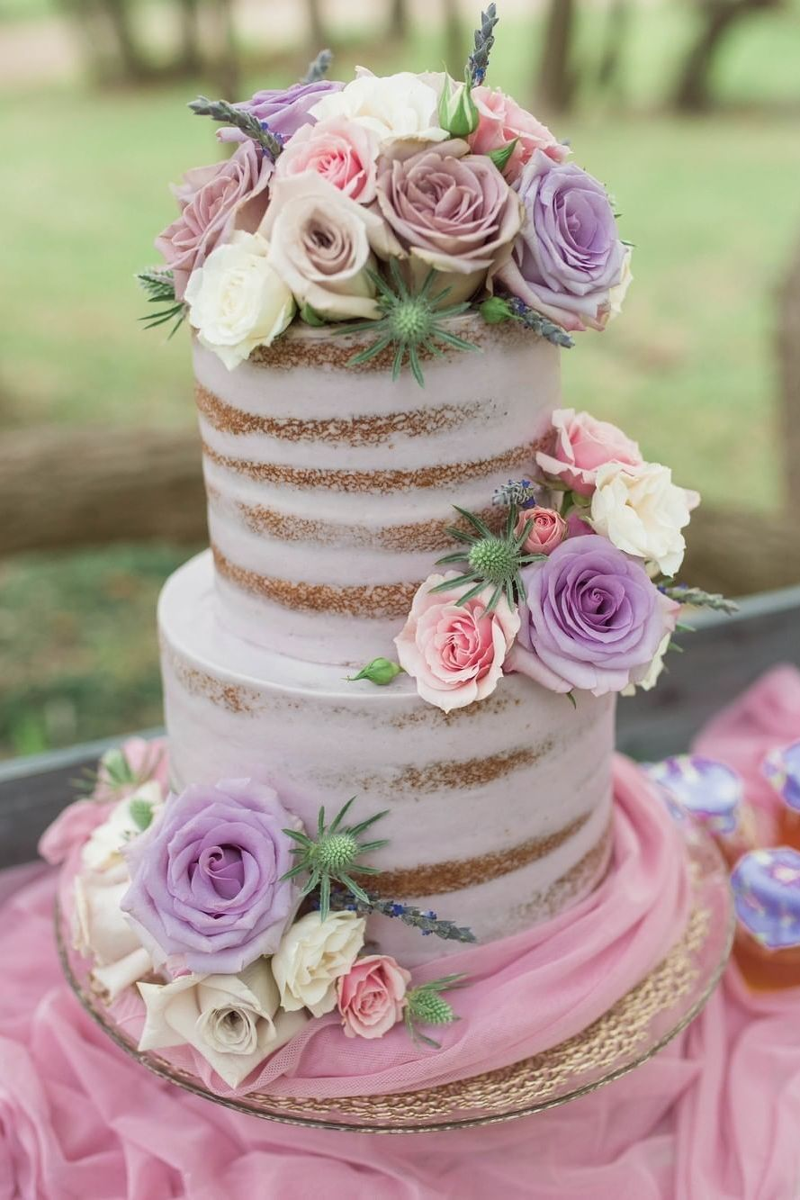 blush pink and purple floral rustic wedding cake ideas