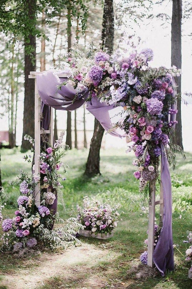 blush pink and purple floral with lavender fiber arch for outdoor wedding ideas