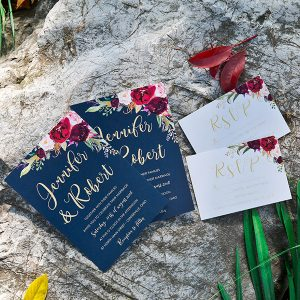 boho navy blue and burgundy floral wedding invitations EWI424 3