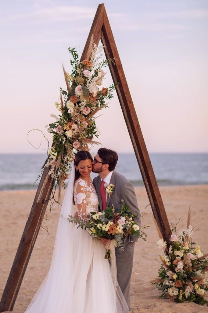 boho triangle wedding arch ideas for elopement beach wedding ideas
