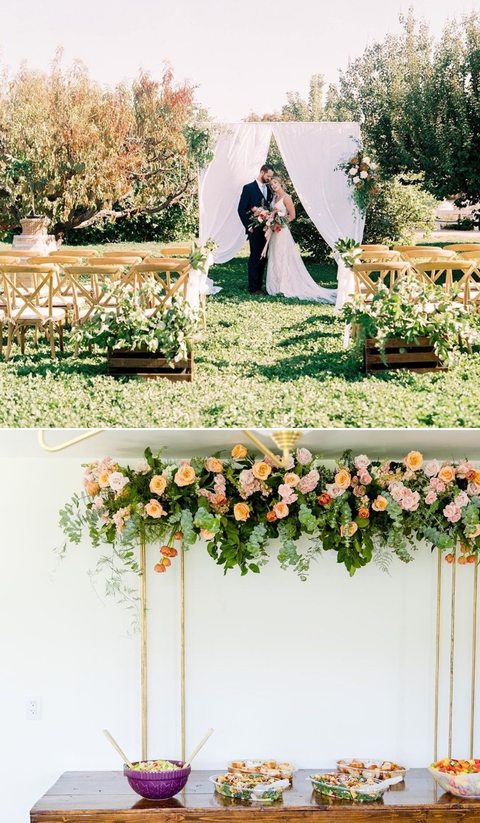 bright flowers for small wedding arch ideas
