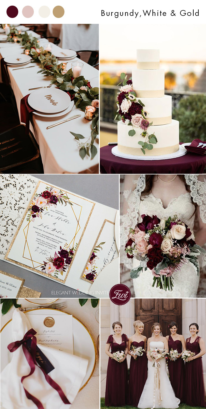 burgundy ivory white blush elegant wedding party ideas with glitter gold