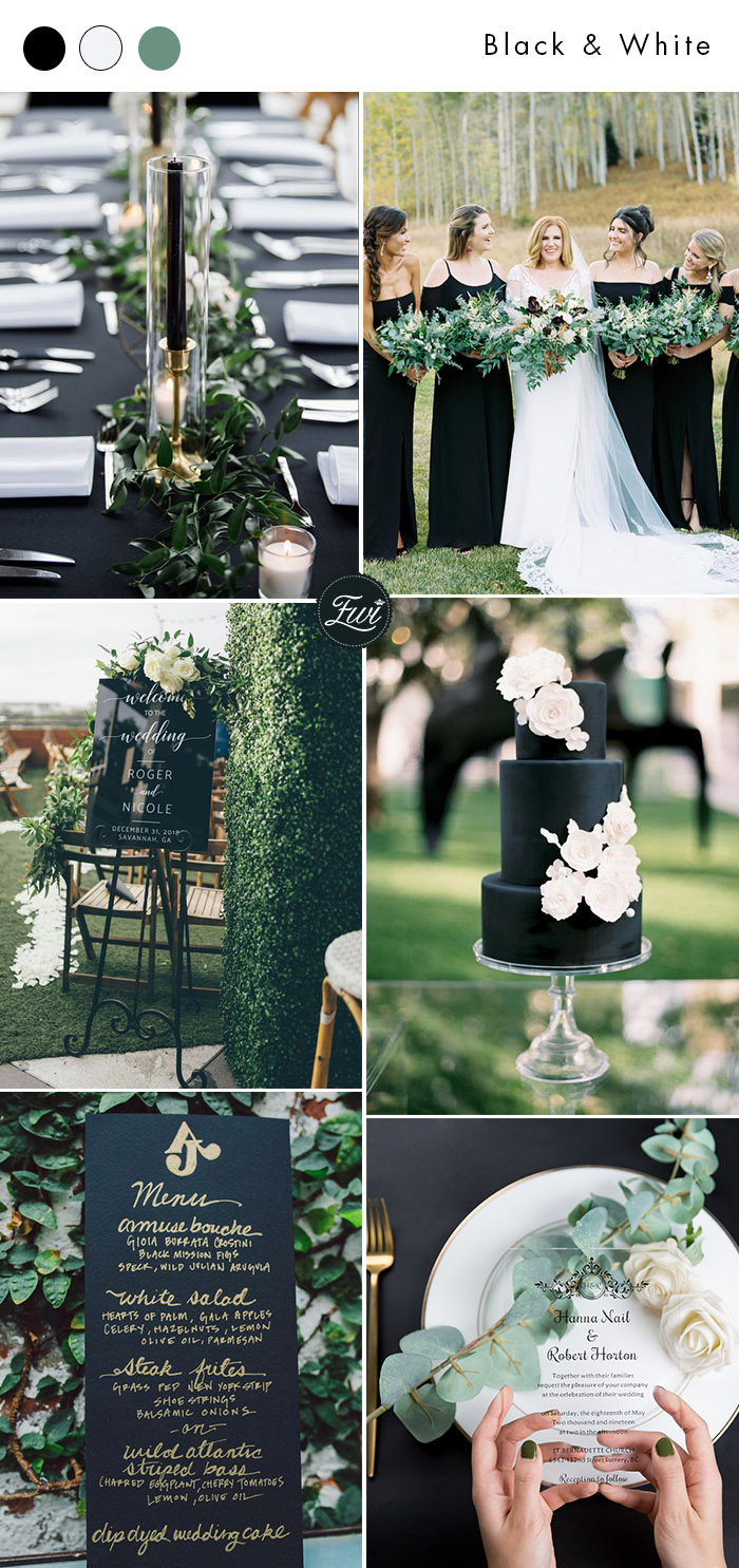 chic modern black white and gold outdoor wedding