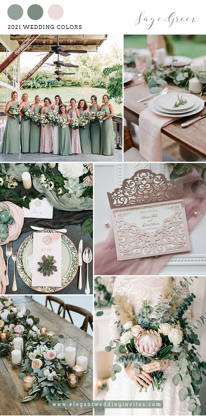 classic sage and blush spring and summer wedding colors