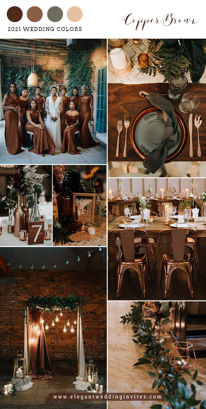 copper brown and greenery modern industrial wedding colors