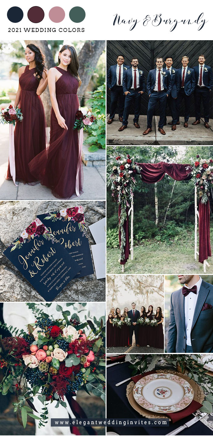 dark navy and burgundy fall wedding color combos with hint of blush