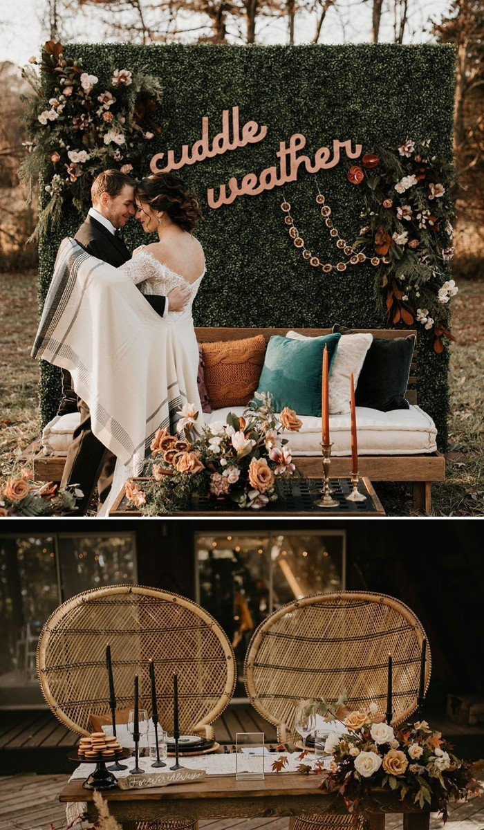 deep green wedding backdrop for boho micro wedding ideas