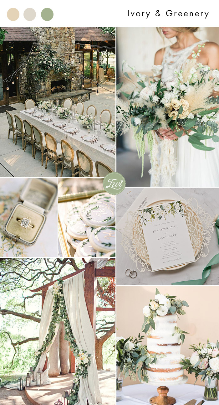 elegant and romantic ivory white and sage garden wedding color inspiration