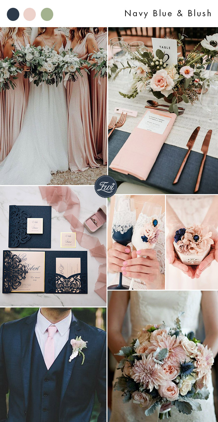 elegant classic navy blueand blush wedding colors with glitter accents