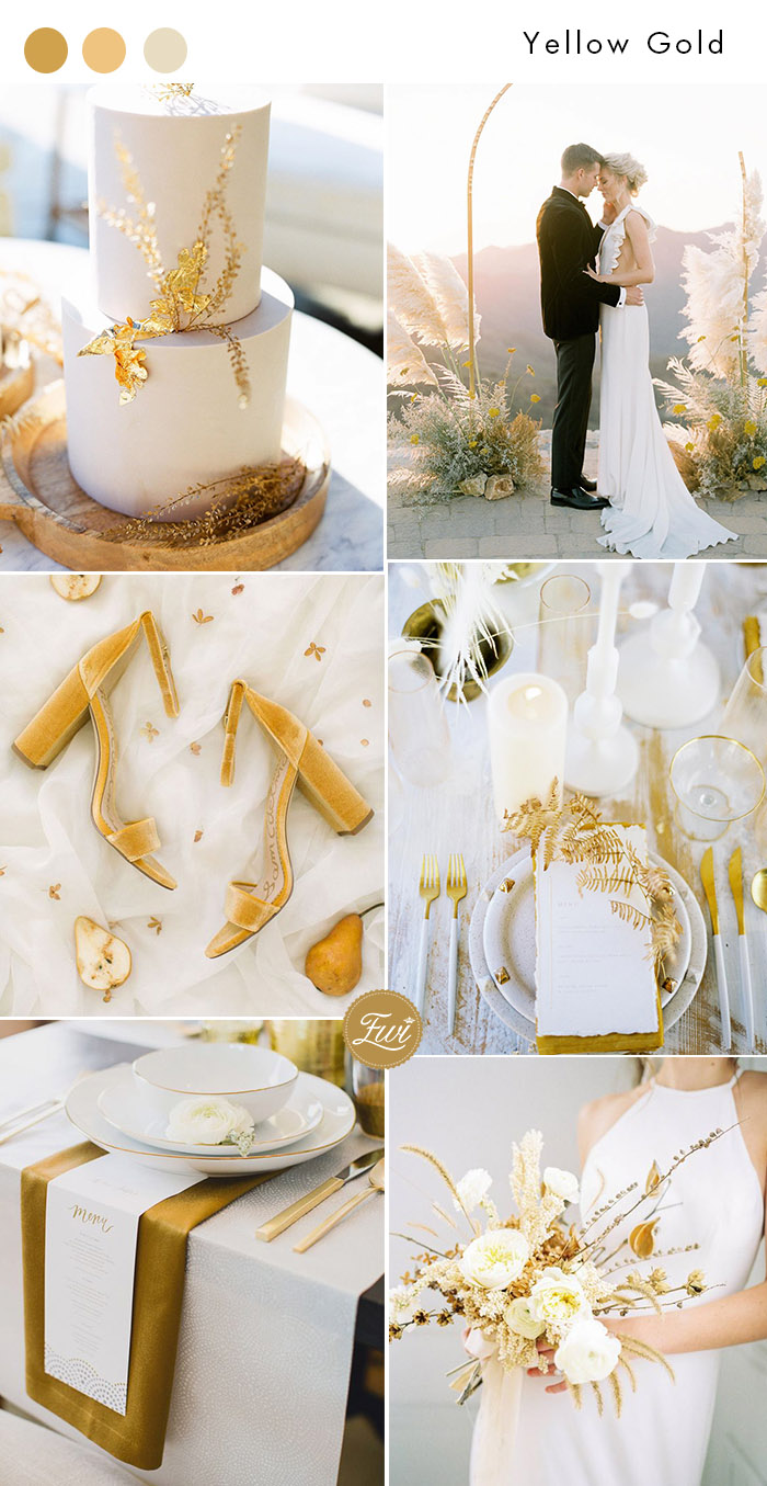 elegant minimalist elopement wedding in yellow gold and white
