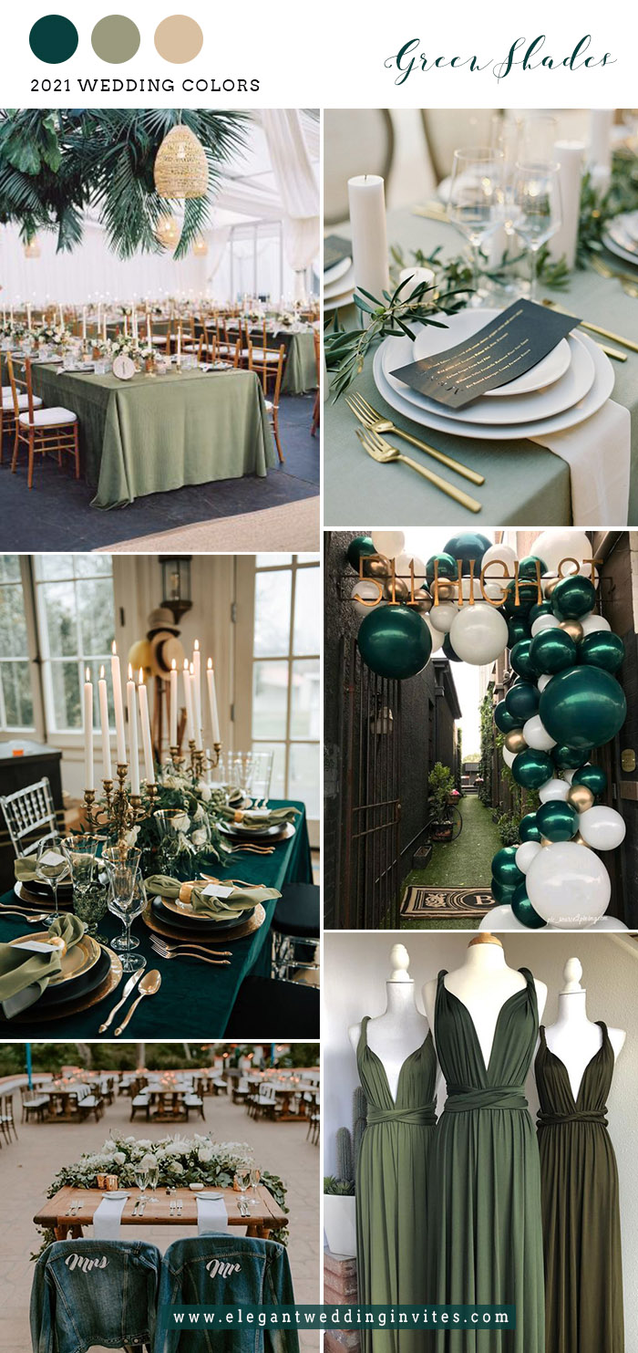 emerald green and willow green wedding color trends