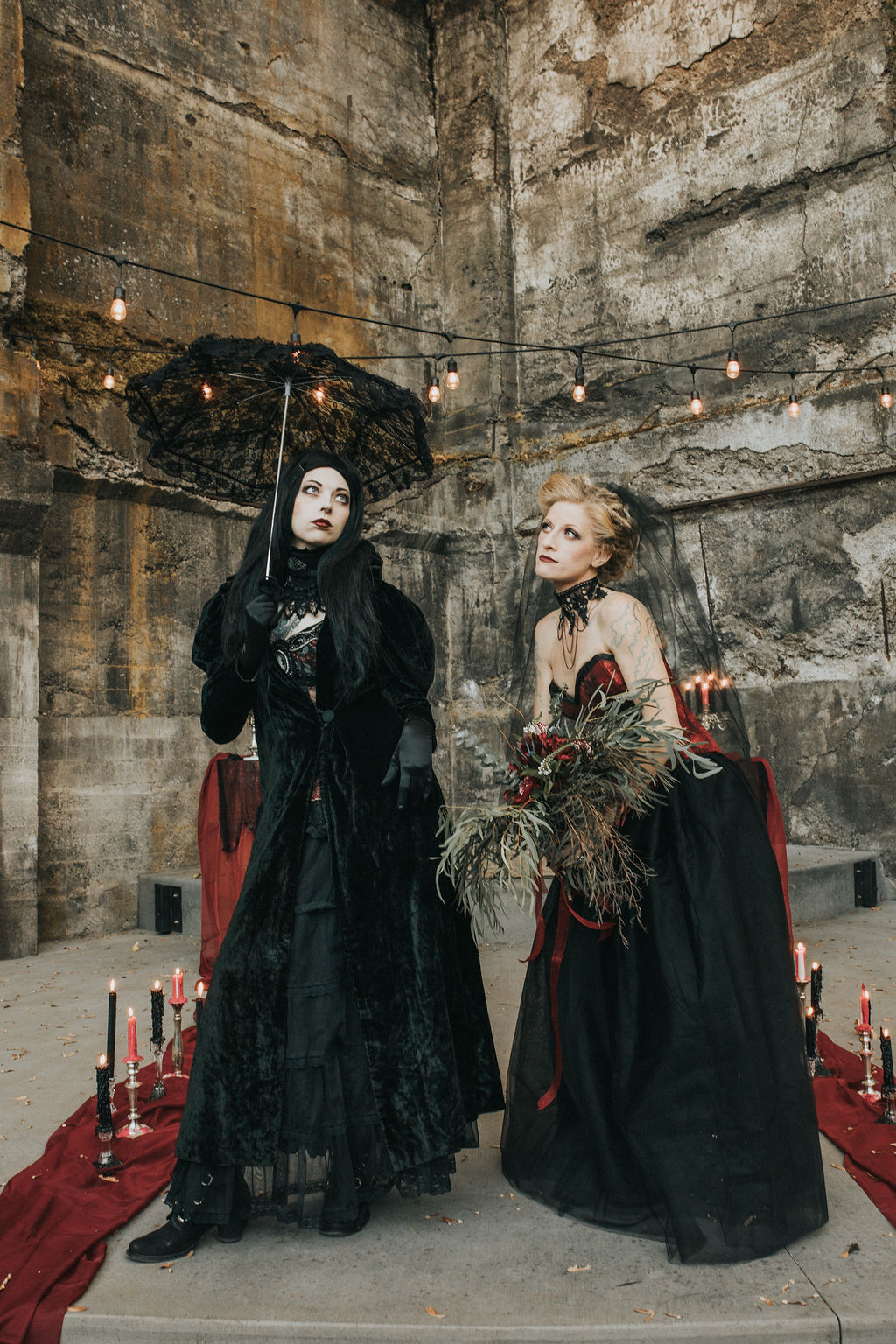 funny halloween wedding photos with brides in black costumes