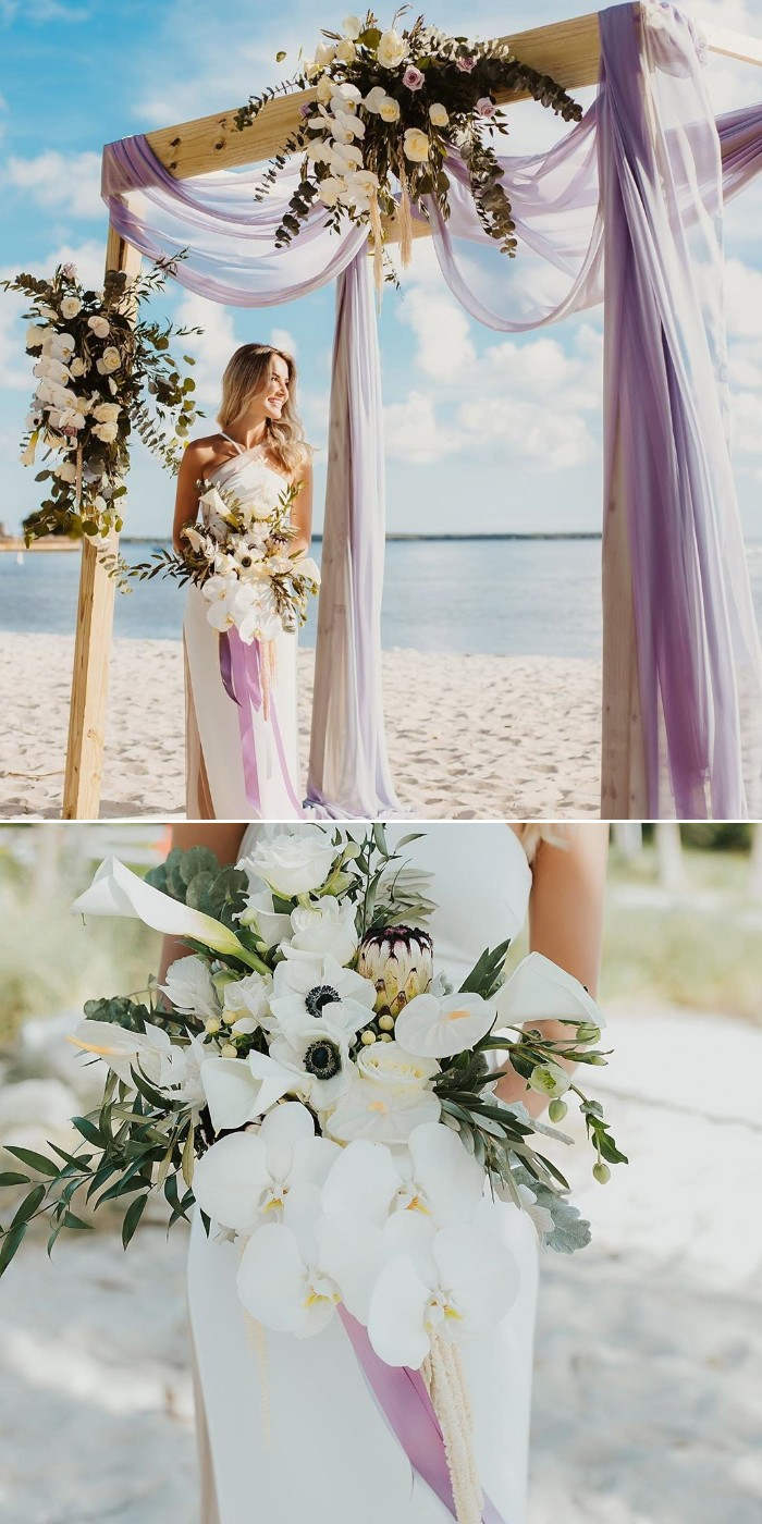 gergous beach micro wedding arch ideas with purple fabric