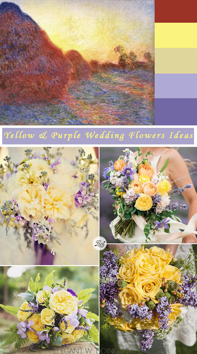 yellow and purple wedding bouquets ideas from paiting for unique wedding ideas