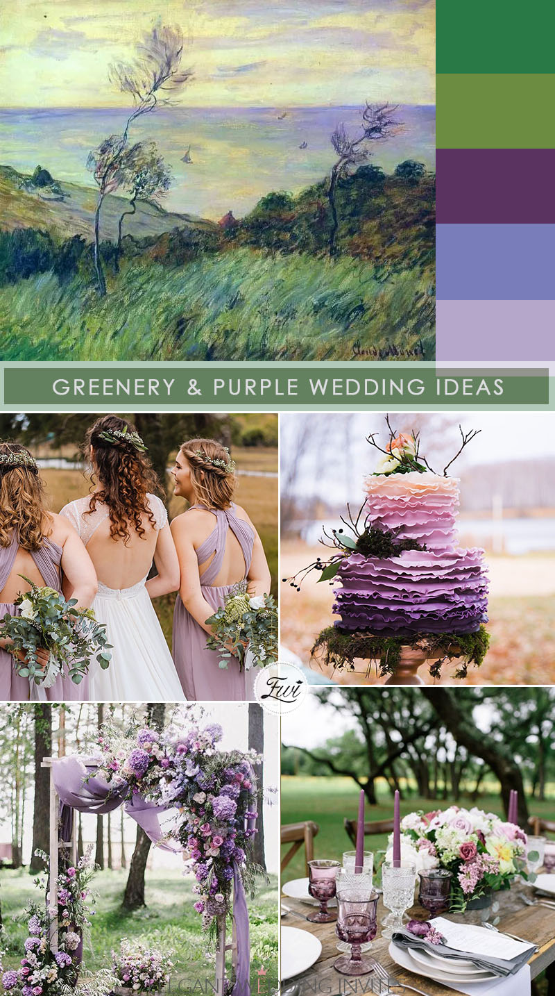 green and purple wedding ideas from paiting for micor wedding ideas