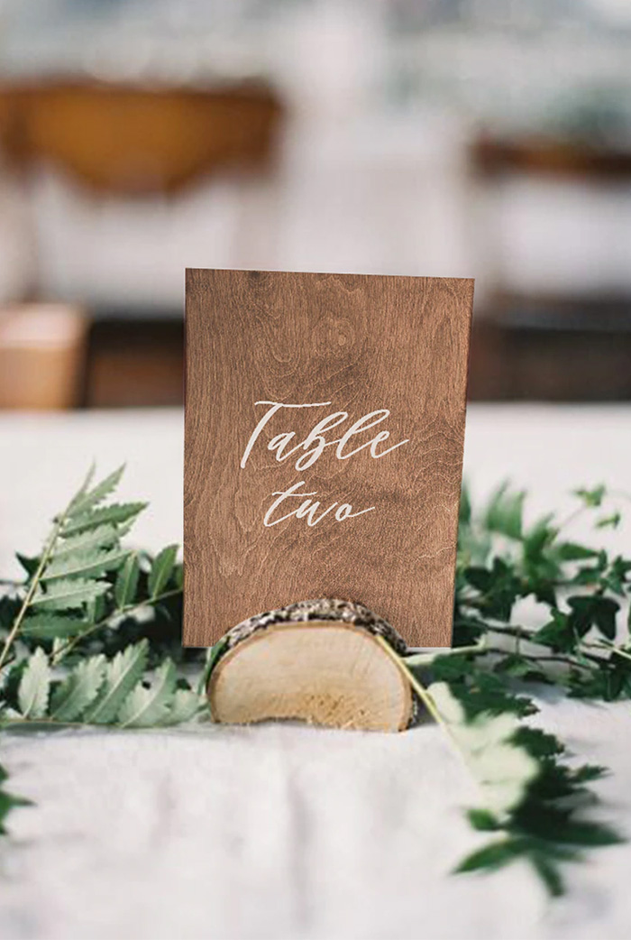 inspiring rustic wood table numer with wood slice holder