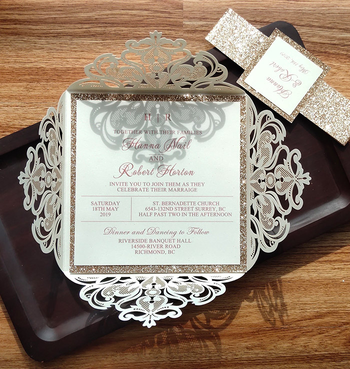 ivory and gold glitter elegant wedding invites with belly band