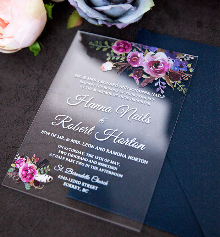 magenta purple and blue flower acrylic wedding invitation
