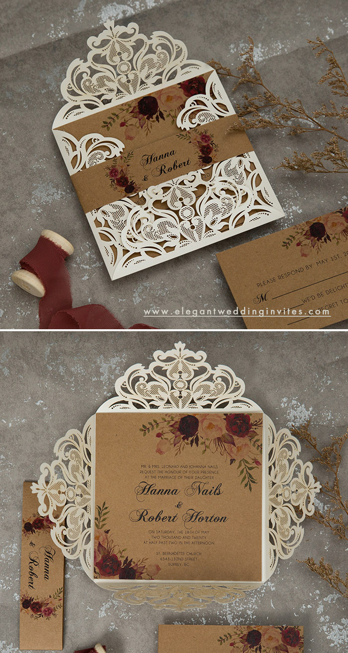 moody rustic fall burgundy flower wedding invitations
