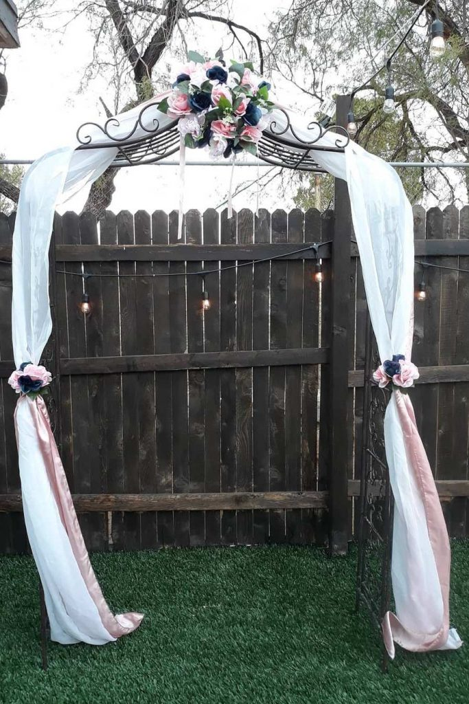 navy and blush stain decor backyard wedding arch decoration ideas