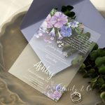orchid and Lilac Shades of Purple Floral Acrylic Wedding Invitations CA021