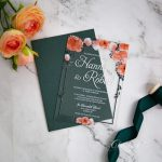 peach orange and green floral acrylic wedding invitation ca029 2