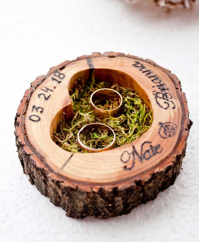 personalized rustic wood slice wedding ring holder