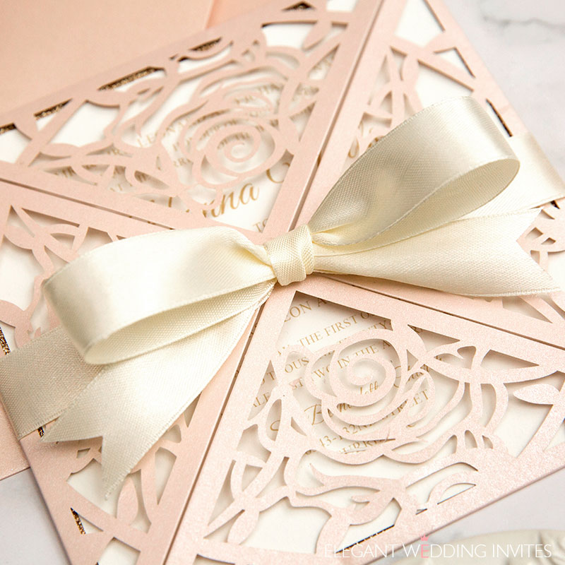 romantic blush rose pattern laser cut wedding invitations with ribbons EWWS293 4