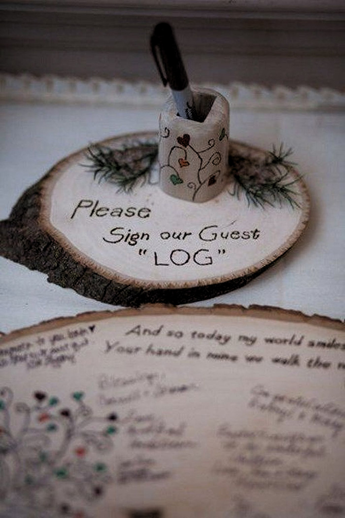 rustic country wood slice wedding guest book ideas