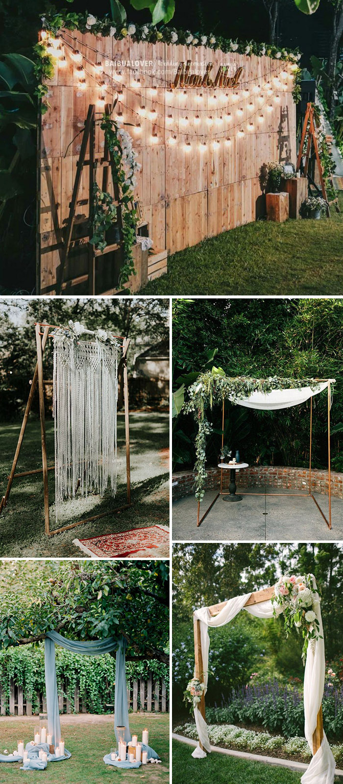 simple DIY backyard outdoor wedding arches
