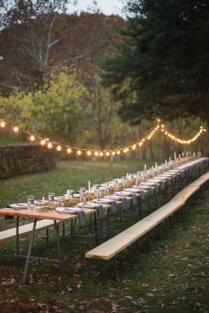simple and casual long table setting for backyard rustic wedding