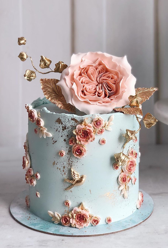 small foil gold and pink floral painting wedding cakes