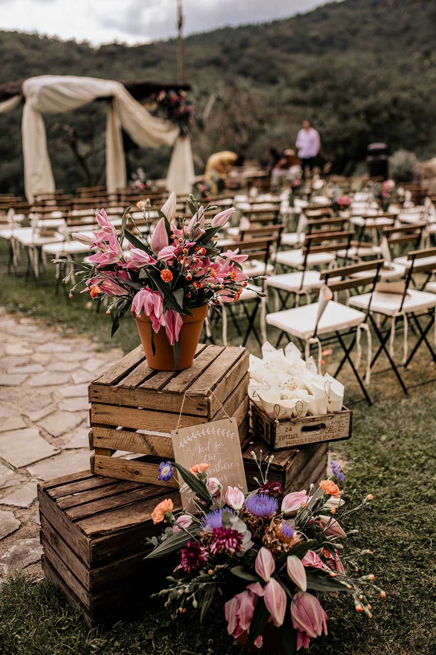 stacked rustic wood crate weddin decoration with flower pots